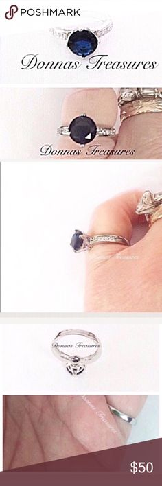 🎅🏻1.25 Carat Blue Sapphire & Crystal Ring This 1 Carat man-made Sapphire sits in a 14K White Gold Filled claw setting.  The decorative cutouts just below the stone & the 7 CZ' s on each side (approx 1/4CTW) add character to the look! #0830-1 Jewelry Rings