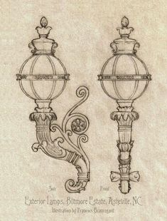 Biltmore House Lamps by on DeviantArt Cathedral Architecture, Architecture Details, Lamp Tattoo, House Lamp, Art Challenge, Art Inspo, Game Art, Art Nouveau, Art Drawings