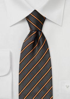 Corbata gris rayas naranja