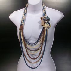 Jersey long necklace with flower and vintage button in blue and brown by DJ What Chu Want @Etsy! $27.00