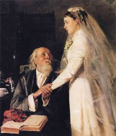 To crown (Farewell) or Goodbye, Papa (1894).  Vladimir Makovsky (Russian, 1846-1920). Makovsky has captured a poignant moment in this young bride's life. It's difficult to read her expression. It is clear that she will be very much missed by her Papa, and his look of love is beautifully captured here. The bride's white bridal gown and veil shimmer with reflected light, and the flowers in her hair, and the mistletoe corsage are carefully painted.