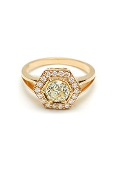 "Brides.com: . ""Hexagon Rosette"" .89ct light yellow Old European-cut diamond with .15 ctw white diamond accents in 14k yellow gold, $7,900, Anna Sheffield"