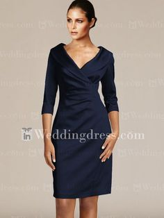 Would this be acceptable for me ?? Or is it too fancy ?? Lots of colors to choose from : ) Short V-Neck Mother Dresses with 3/4 Sleeves