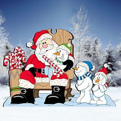 Santa with Snow Kids - Woodcrafting Plans and Patterns, Yard Art Patterns, Tools and Supplies by Sherwood Creations