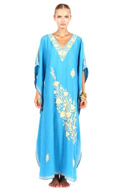 Shop Pas Pour Toi Light Blue Cotton Kaftan at Moda Operandi
