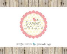 Premade Logo  Custom Premade Logo  by Simply Creative Shop - Bird an Scalloped Circle Frame Logo