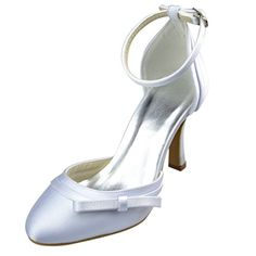 05cd3878b47d Minitoo GYAYLR001 Womens Stiletto High Heel Ivory Satin Evening Party  Bridal Wedding Strappy Shoes 11 M US     Click the image for detailed  description