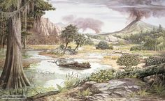 "Triassic, Jurassic and Cretaceous (Mesozoic ""the Age of Reptiles"") flora, by John Sibbick."