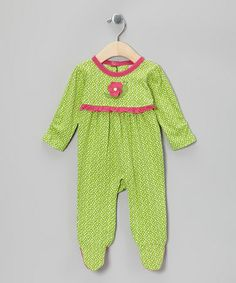 Take a look at this Green Flower Organic Footie - Infant by My O Baby on #zulily today! $13.99