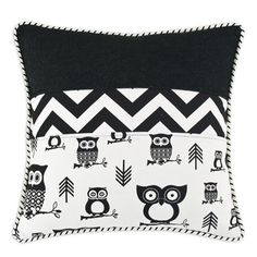 Hooty Corded Cotton Throw Pillow