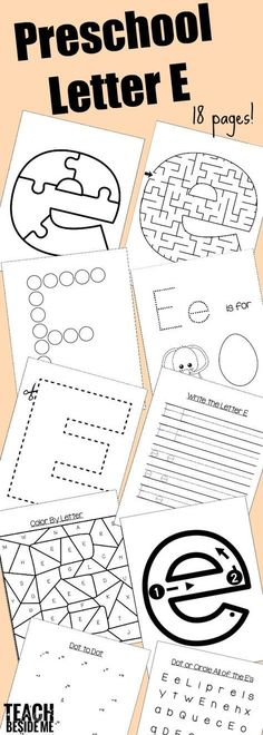 Preschool Letter E Printables and activities- letter of the week craft, letter snack and letter E book list via Letter G Worksheets, Letter G Activities, Shape Tracing Worksheets, Preschool Letters, Kindergarten Worksheets, Preschool Activities, Kids Worksheets, Kindergarten Readiness, Preschool Curriculum