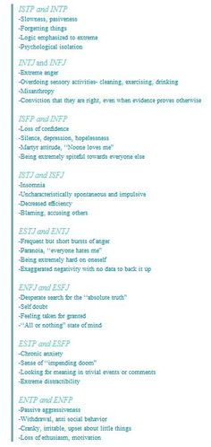 16 types and stress  ~  This is interesting, and so right. I'm an ENFP and when I'm stressed this is exactly what I do.