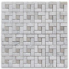 Carrara White Target Pinwheel Mosaic Tile w/ Gray Dots Polished - Marble from Italy