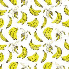 À mão desenho de banana. Sem costura fundo de natureza. - arte vetorial de…