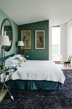 Green & White Bedroom on HOUSE in Bedroom Design Ideas. An award-winning cutting-edge modern house that sits in a valley on the Waddesdon Manor estate.