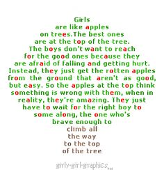 girls are like apples on a tree | girls like apples on the tree!