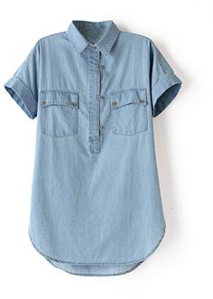 Tencel Blue Western Style Double Pockets Sleeveless Denim Blouse on shopstyle.com