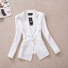 2013 outono Frete Grátis coreano Magro fivela de ouro terno outono casaco OL lazer outerwear terno feminino fêmea WT4067 blazer ocasional em...