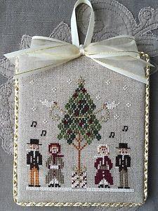 Finished Cross Stitch Ornament Little House Needleworks Caroling Quartet Holiday | eBay