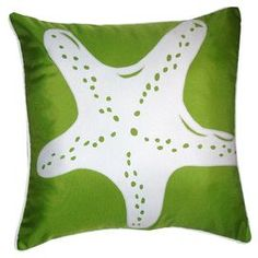 Outdoor pillow with a starfish motif.   Product: PillowConstruction Material: PolyesterColor: Leaf and whiteFeatures:  Insert includedSuitable for indoor or outdoor use Dimensions: 20 x 20 Cleaning and Care: Spot clean