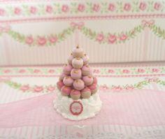 diy dolls house miniature 1:12 food jolie  pièce montée petits choux  fimo