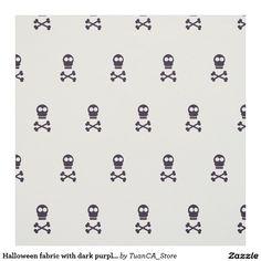Halloween fabric with dark purple skulls