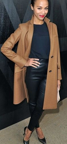 High waisted leather + camel coat.