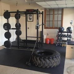 Very Nice Garage Gym Photo Rogue Power Cage Bumpers Hammer Even A Giant Tire To Smash And Flip