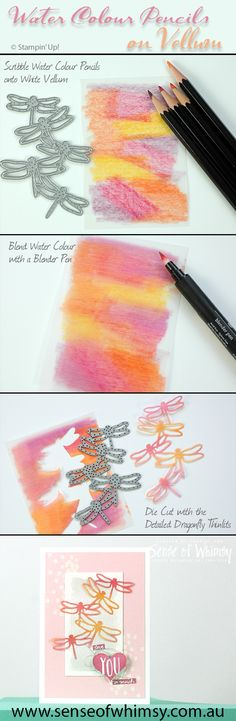 Water Colour Pencils on Vellum step by step ... for more details visit my web site www.senseofwhimsy.com.au