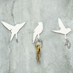 Bird Hooks, $24, now featured on Fab.  We could use these in the front foyer or in Dorie's room.  We're all forever losing keys because we don't have anything to hang them on.  Could be used for leashes too.