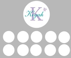 Vinyl wall art decal round name with a set of 10 polka dots