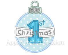 Baby's First Christmas Ornament Round Applique Machine Embroidery Design Holiday Boy Blue INSTANT DOWNLOAD by AppliquetionStation on Etsy https://www.etsy.com/uk/listing/116103623/babys-first-christmas-ornament-round