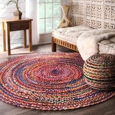 Hand Braided Bohemian Colorful Cotton Chindi Area Rug multi colors Home Decor Rugs cotton area rug circle rug rag round floor rug 3 Feet Rug Handmade Home Decor, Handmade Rugs, Etsy Handmade, Mandala Rug, Braided Rag Rugs, Round Braided Rugs, Circle Rug, Creation Deco, Indian Rugs