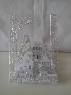 Fabric Christmas Card Winter WelcomeChristmas Cards, Holiday Cards and Winter Cards to Craft 2 Would work just as well with old cards. Homemade Christmas Cards, Christmas Cards To Make, Xmas Cards, Homemade Cards, Holiday Cards, Handmade Christmas, Christmas Crafts, Acetate Cards, Clear Card