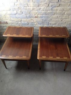 Two Mid Century Side Tables - Lane Acclaim Tables - Walnut Dovetail Nightstands - Mid Century Lane Acclaim Tables