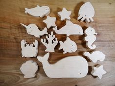 Sea animals wooden toys // Baby toys // от DesChosesEnBois