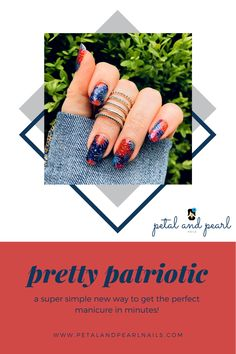Red bursts and silver beams against a sparkling blue background, this nail polish strip will be perfect for all your summer holiday needs. Nail Polish Stickers, Nail Polish Strips, Nail Polish Colors, Manicure At Home, Diy Manicure, Stylish Nails, Trendy Nails, Fall Nail Trends, Pearl Nails