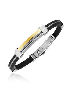 Forzieri Men's Stainless Steel and Rubber Bracelet   FORZIERI