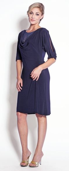 Blue dress 3 4 sleeve purple dress