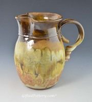 "Dirtworks Pottery - Handmade Water / Milk Pitcher 7.75"" in Caramel Brown over Southwest Glaze"