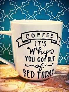 """Coffee Mug """"Coffee is why"""" Funny/Humor Cup by WholeWildWorld on Etsy, $15.00 gift. present. friend."""