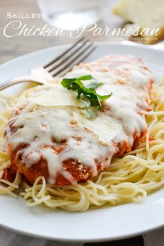 Skillet Chicken Parmesan Recipe ~ an easy and delicious meal ready in about 30 minutes