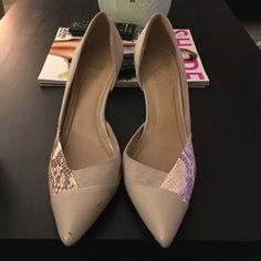 Vince Camuto high heels Gorgeous Vince Camuto heels for sale, hardly ever worn. Size 8. Details include faux snakeskin, suede, and patent. Very comfortable, heel height is 3.5 inches tall. Color is a light grey/taupe. Vince Camuto Shoes Heels