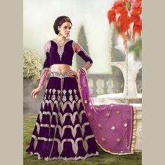 Purple Velvet Designer Lehenga Cum Suit