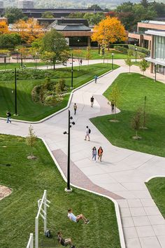 Eda U. Gerstacker Grove | Ann Arbor, MI USA | Stoss #university #campus #design #plaza #seating #bench #seach #stoss #landscapearchitecture #people #students