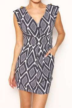 Diamond Print Wrap Bodice Dress