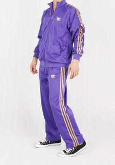 purple and gold adidas tracksuit