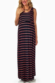 Black-Pink-Striped-Maternity-Maxi-Dress #maternity #fashion