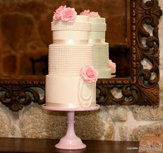 Pink, Flowers & Pearls Cake