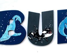 Whale Ocean Painted Letters, Whales Nursery Letters, Whale Nursery, Nautical Nursery Baby Name Letters, Ocean Baby Nursery Wood Wall Letters
